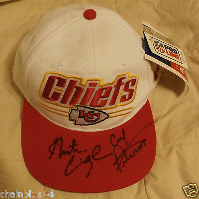Kansas City Chiefs Autographed Hat 1990's Cunningham Peterson Signed Bill New