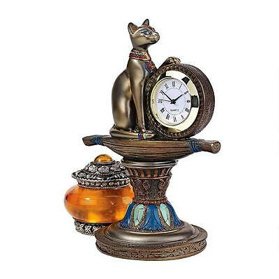 Egyptian Cat Goddess Bastet Guardian of Time Quartz Movement Altar Mantle Clock
