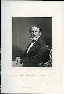 William Ewart Gladstone Original Antique Print from Steel Engraving c. 1875