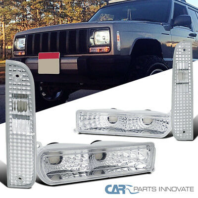 97-01 Jeep Cherokee Chrome Front Bumper Parking Lights+Clear Corner Signal Lamps