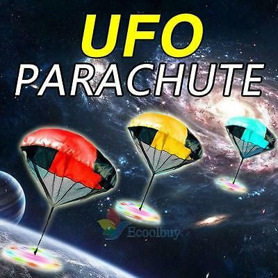Kids Children Light Flash Throwing UFO Parachute Kite Outdoor Play Game Toy A