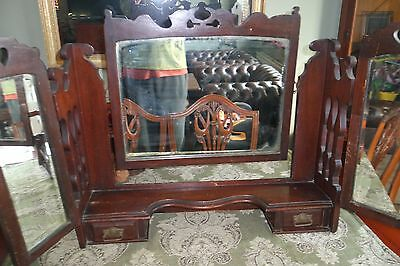 Antique Edwardian oak two draw tri-mirrors for dressing table