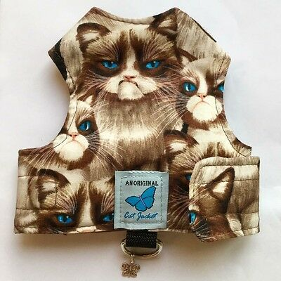 Butterfly Cat Jackets - Walking Harness Jacket Grumpy Cat Design - Optional Lead