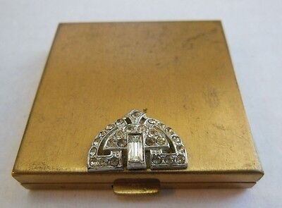 Vtg--Volupte U.s.a. Gold Tone Metal Ladies Compact With Rhinestone Accent