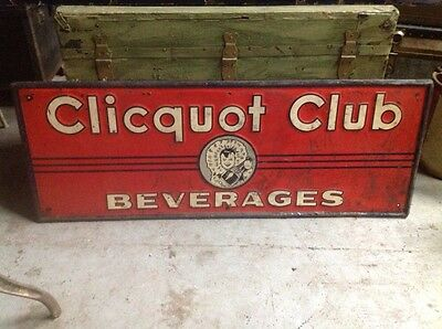 Original Clicquot Club Eskimo Girl Beverage Soda Advertising Bottle Tin Sign