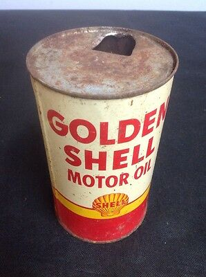 Vintage Golden Shell Oil Can Motor Oil 1 Quart Can - EMPTY