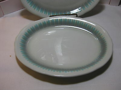 "Vintage Shenango China USA Blue & Green Geometric 10"" Oval Serving Platter 1967"