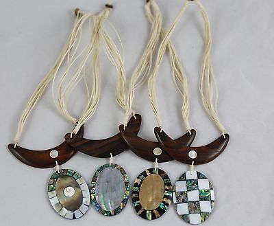 set of 4 necklaces Wooden shell necklaces