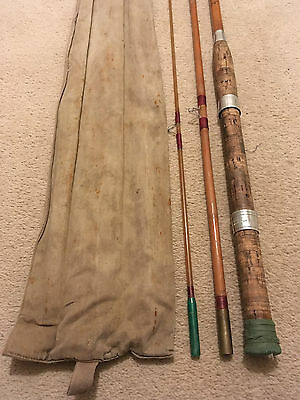 Vintage MILBRO COMPETITOR Fly Fishing Rod Bamboo Split Cane 10ft Canvas Bag 50s