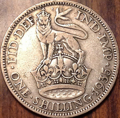 1935 Uk Gb Great Britain Silver One Shilling