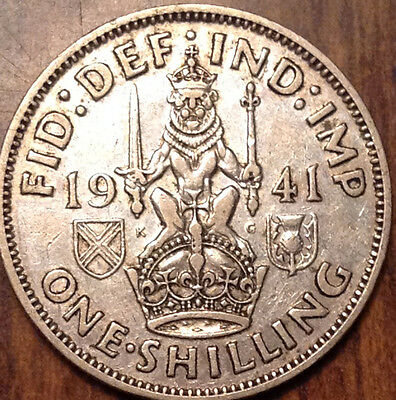 1941-S Uk Gb Great Britain Silver One Shilling