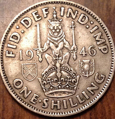 1946-S Uk Gb Great Britain Silver One Shilling