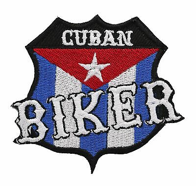 SKULL with CAP and CUBAN FLAG Hanky embroidered Patch-000656