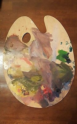 Wooden Artist's Painting Oval Palette Used Antique Oil Pallet Painter's