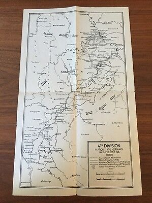 WW1 Original Map 4th Division November 1918 March Into Germany