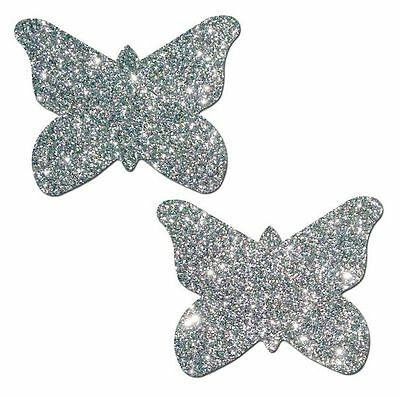 Silver Glitter Butterfly Nipple Pasties by Pastease o/s
