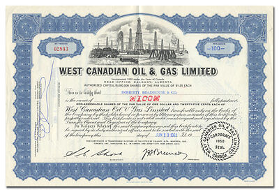 West Canadian Oil & Gas Limited Stock Certificate