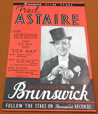FRED ASTAIRE - Brunswick Film Star TOP HAT Vintage 1935 Poster Movie Phonograph