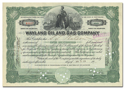 Wayland Oil and Gas Company Stock Certificate (West Virginia)
