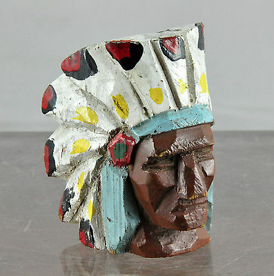 Vintage Hand-Carved Wooden Painted Indian Chief Head Neckerchief Slide