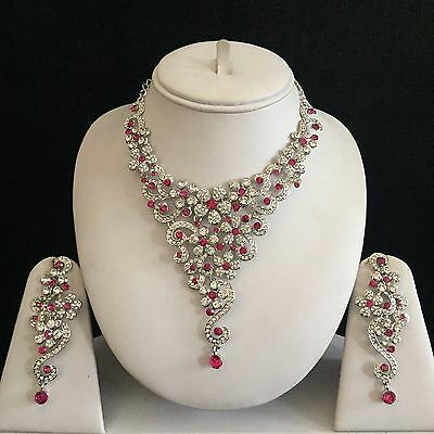 Pink Silver Indian Costume Jewellery Necklace Earrings Crystal Diamond Set New
