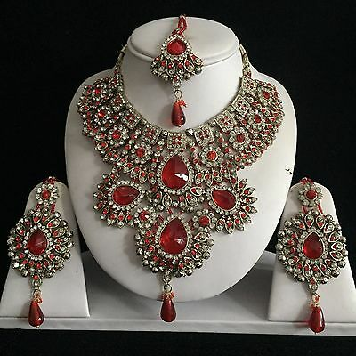 Red Gold Indian Costume Jewellery Necklace Earrings Crystal Set Bridal New Gift