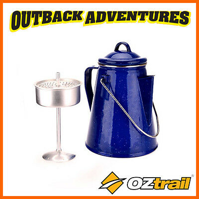 Oztrail Enamel Coated 8 Cup Coffee Pot Percolator - Kitchen Ware - Camp Cooking