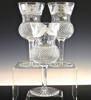 Exceptional Edinburgh Cut Crystal Thistle Pattern Set Of 3 Wine Water Goblets
