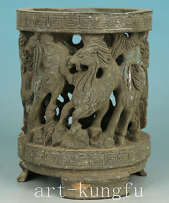 Chinese Old Bronze Collection Handmade Carved Hollow Out horse Statue brush pot