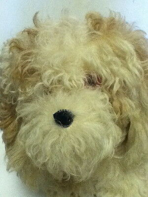 Vintage realistic mohair dog with red eyes_soft coated wheaten terrier