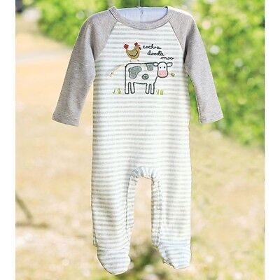 Mud Pie MK7 Farmhouse Baby Boy Cow & Rooster One-Piece Footed Sleeper 1032323