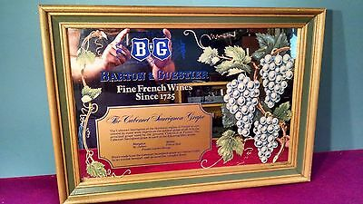 Barton & Guestier French Wines Cabernet Sauvignon Framed Mirror Brown Vintners!