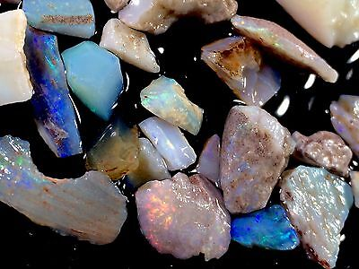 115ct Australian Coober Pedy Opal Gem Rough mix, Bright Chips &Fossil Pieces