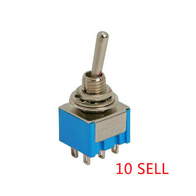 10pcs DPDT Miniature Toggle Small Switch 2 Position 6 PIN ( ON-ON ) 5A 250V Pro