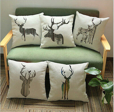 Vintage Stag Elk Buck Deer Pattern Cushion Cover Home Decor Throw Pillow Case