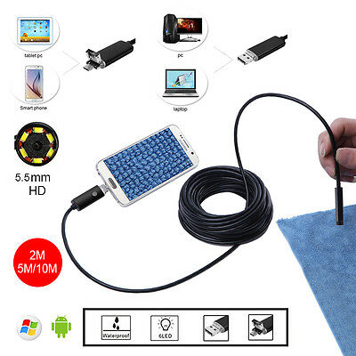 2IN1 5.5mm1080P 2MP Android/PC 6LED HD waterproof Endoscope Borescope 2m/5m/10m