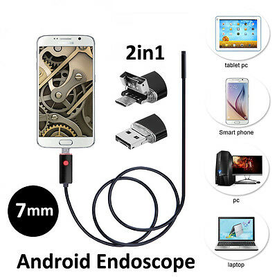 2m/5m/10m 2IN1 7mm Coms camera Android/PC 6LED HD waterproof Endoscope Borescope