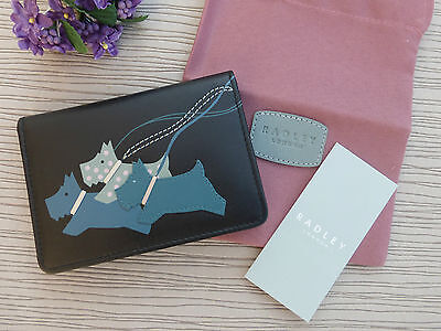 BNWT Radley 'On the Run'  Black Fold Over Leather ID Wallet Travel Card Holder