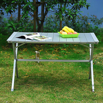 "45""x28""x28"" Aluminum Portable Camp BBQ Picnic Table Folding Roll Up w/ Bag"