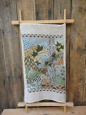 Wooden Tapestry Cross Stitch Frame With Completed Tapestry Work