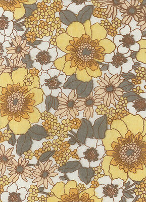 Vintage Sheet Fabric: Floral. All Cotton. Unused.