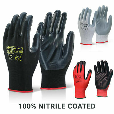 48 Pairs Red Black Nitrile Coated Work Gloves Grip Industrial Gardening Builder