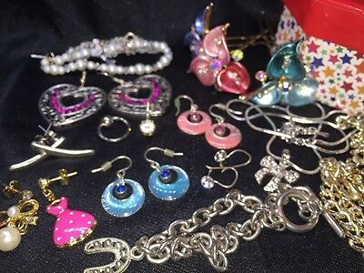 Bulk Lot Assorted Fashion Mixed Jewellery Earrings Belly Hair Trinkets Box