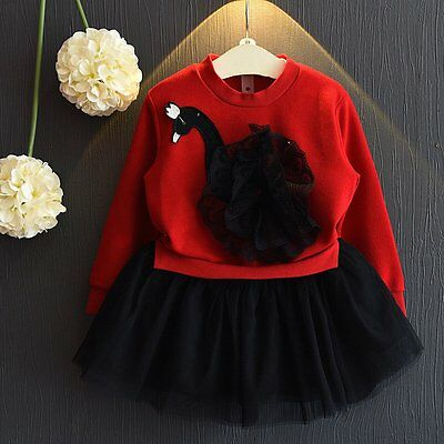 Toddler Kids Baby Girls Outfits Clothes T-shirt Tops+Tutu Skirt Dress 2PCS Sets