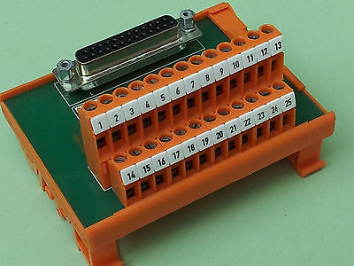 DIN rail mounted D-sub Interface Module femail 25 way RS 425-112 breakout port