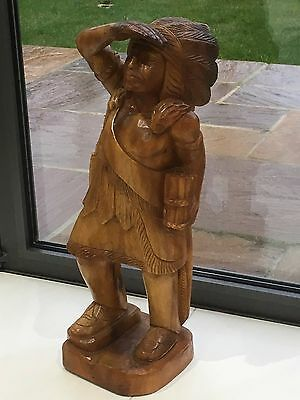 Vintage Wooden Carving Cigar Store Indian Advertising American Tobacco Chief