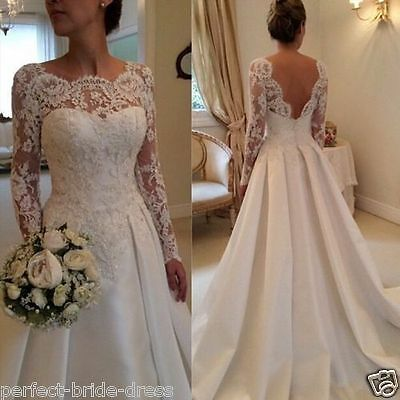 New Lace White/ivory Wedding dress Bridal Gown custom size 6-8-10-12-14-16