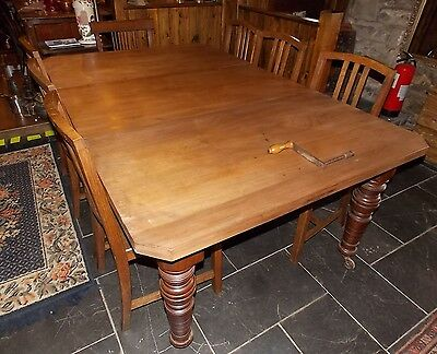Antique Edwardian stripped mahogany DINING TABLE extra leaf wind-out extendable