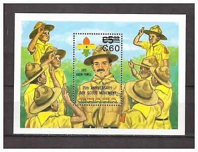 s14386) GHANA 1984 MNH** Scout  S/S Overprinted