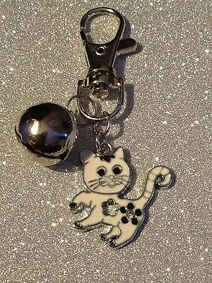 Anti-Theft Purse Bag Charm Security Bell White Cat Silver Tone Enamelled Charm